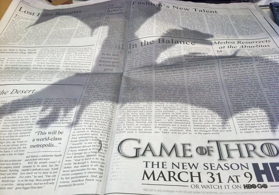 Reclama ingenioasa la Game of Thrones in New York Times