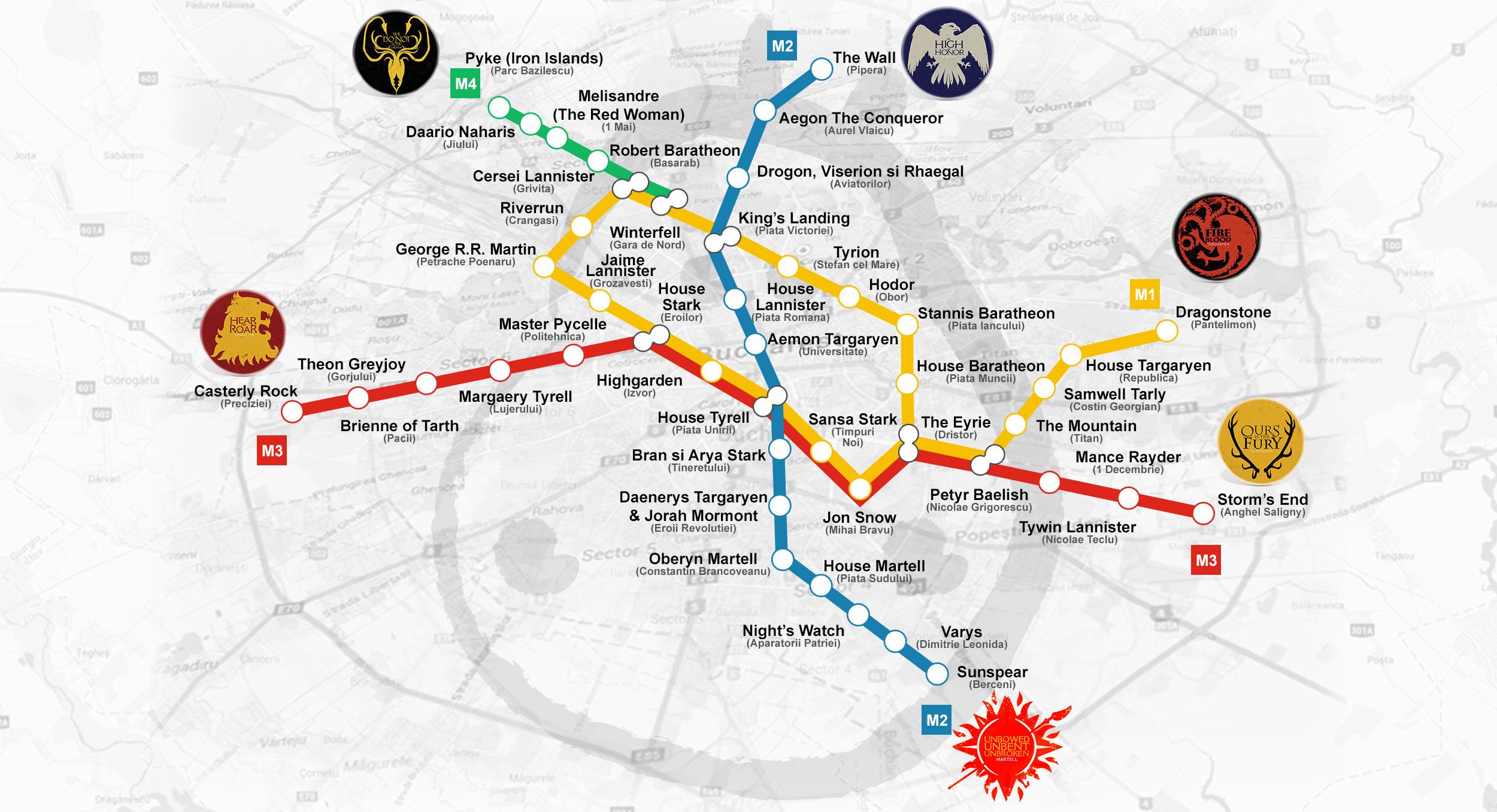 Harta Metroului Din Bucuresti Cu Nume De Personaje Si Locuri Din