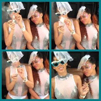 Rihanna a petrecut a doua zi de carnaval aproape dezbracata si fumand marijuana